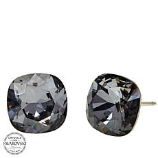 Stately Steel Crystal Stud Earrings