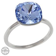 Stately Steel Cushion-Cut Solitaire Ring