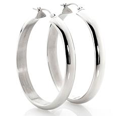 Stately Steel D-Tubing Small Oval Hoop Earrings