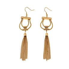 Stately Steel Double Snake Chain Tassel Drop Earrings