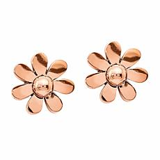 Stately Steel Flower Stud Earrings - Rose