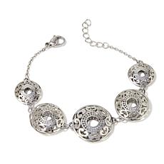 Stately Steel Graduated Filigree Station Bracelet