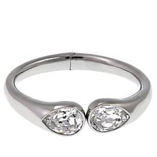 Stately Steel Hinged Bangle Bracelet with Clear Stones