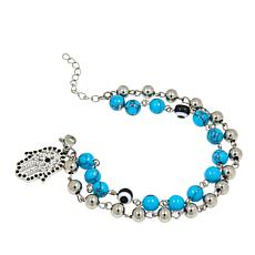 "Stately Steel Howlite Beaded and Crystal Hamsa Hand 7"" Charm Bracelet"
