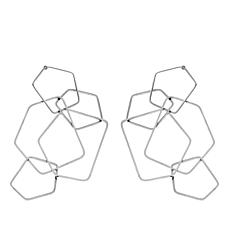 Stately Steel Interlocking Pentagon-Design Dangle Earrings