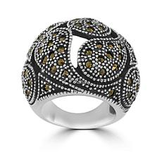 Stately Steel Marcasite Domed Teardrop Ring