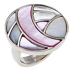 Stately Steel Mother-of-Pearl Abstract Circle Ring