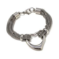 Stately Steel Multi-Strand Mesh Open-Heart Bracelet
