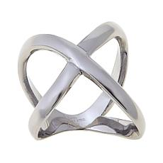 Stately Steel Negative Space Criss-Cross X-Design Ring