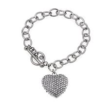 Stately Steel Oval-Link Crystal Heart Charm Bracelet