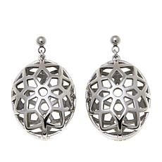 Stately Steel Oval Mesh-Design Flower Drop Earrings