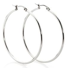 Stately Steel Oval or Round Medium Hoop Earrings