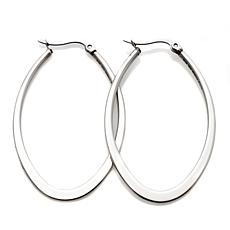 Stately Steel Oval-Shaped Flat Hoop Earrings