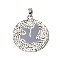 Stately Steel Pavé Crystal Dove Disc Pendant