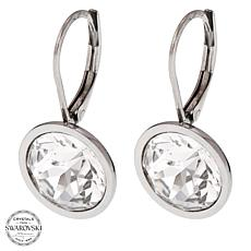 Stately Steel Round Crystal Drop Earrings