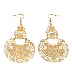 Stately Steel Round Filigree Drop Earrings