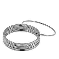 Stately Steel Set of 7 Bangle Bracelets