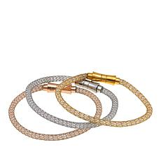 Stately Steel Silver-, Gold- and Rose-Gold-Plated Crystal Bracelet Set