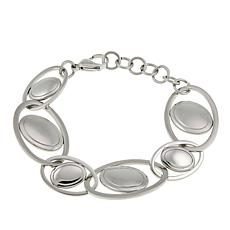 Stately Steel Stainless Steel Oval Station Oval Link Bracelet