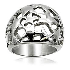 Stately Steel Star Cutout Ring