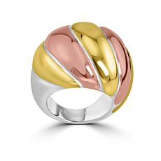 Stately Steel Tri-Color Textured Dome Ring