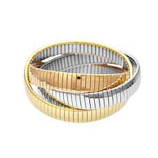 Stately Steel Tri-Color Thick Interwoven Stretch Bangle Bracelet