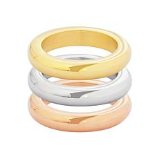 Stately Steel Tri-Colored Stackable Ring Set