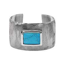 Stately Steel Turquoise Cuff