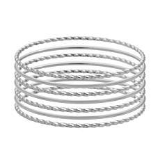 Stately Steel Twisted Bangle Bracelet 7-piece Set