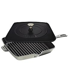 "Staub 12"" Cast-Iron Grill Pan and Press"