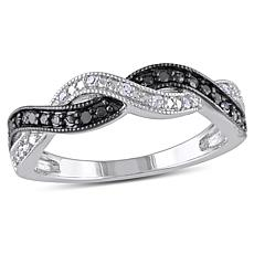 Sterling Silver 0.10ctw Black and White Diamond Infinity  Band Ring
