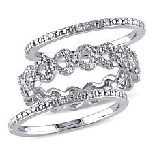 Sterling Silver 0.12ctw Diamond Heart-Link Bridal Ring 3-piece Set