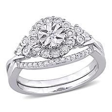 Sterling Silver 0.21ctw Diamond Halo Bridal Ring 2-piece Set