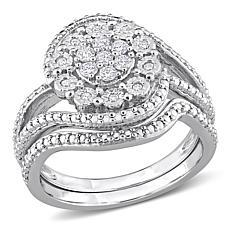 Sterling Silver 0.25ctw Diamond Swirl Bridal Ring 2-piece Set