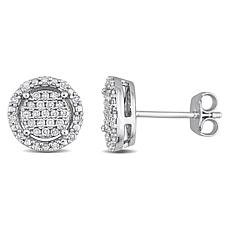 Sterling Silver 0.30ctw Diamond Cluster Halo Round Earrings