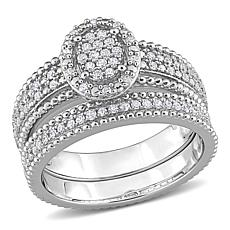 Sterling Silver 0.32ctw Diamond Oval Cluster Bridal Ring 2-piece Set