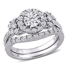 Sterling Silver 0.50ct Diamond Halo Ring 2-piece Set