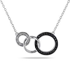 Sterling Silver .10ctw Black and White Diamond Circle-Link Necklace