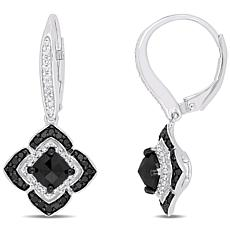 Sterling Silver 1.5ctw Black and White Diamond Halo Leverback Earrings
