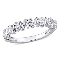 Sterling Silver .70ctw Moissanite Wave Semi-Eternity Band Ring