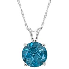 Sterling Silver 8mm Round London Blue Topaz Pendant with Chain