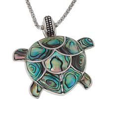 "Sterling Silver Abalone Shell Turtle Design Pendant with 18"" Chain"