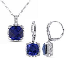 Sterling Silver Blue Sapphire and Diamond Jewelry Set