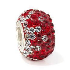 Sterling Silver Burgundy, Red and Clear Crystal Bead Charm