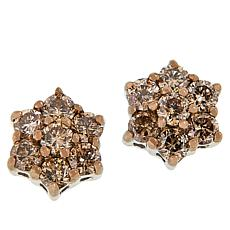 Sterling Silver Colored Diamond Floral Design Stud Earrings