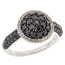 Sterling Silver Colored Diamond Round Cluster Ring