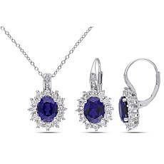 Sterling Silver Created Sapphire and Diamond Oval Pendant and Earri...