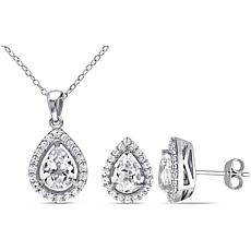 Sterling Silver Created White Sapphire Teardrop Pendant and Earrings