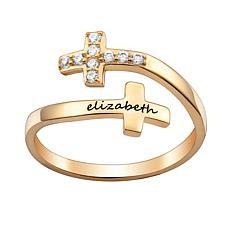 Sterling Silver Crystal Engraved Name Double Cross Ring