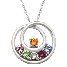 Sterling Silver Crystal Mother's Circle Pendant